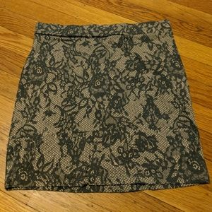 Lace-print Bodycon Skirt
